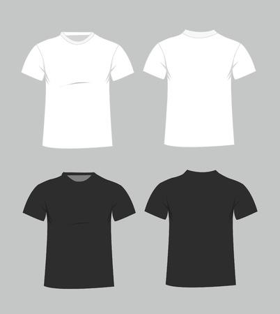 camisas: Plantilla en blanco de la camiseta. Delantera y trasera