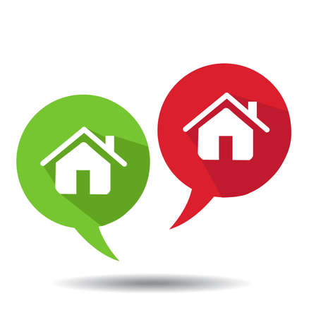 house exchange: Speech Bubbles With Home Icons Illustration