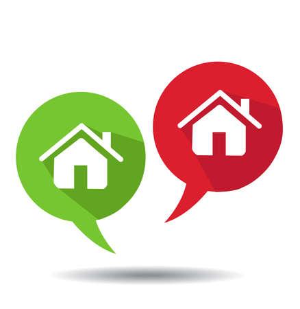 Speech Bubbles With Home Icons Ilustração