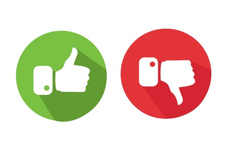 negativity: Modern Thumbs Up and Thumbs Down Icons Illustration