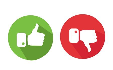 Nowoczesne kciuki i kciuk w dół ikony