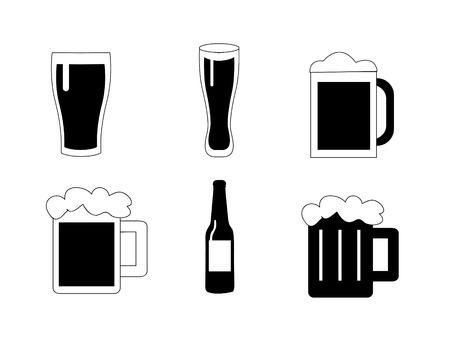 black beer: Beer vector icons set