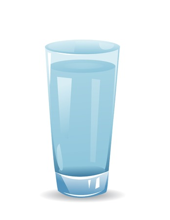 glass with water isolated illustration on white background Çizim