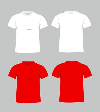 men shirt: Blank t-shirt template. Front and back