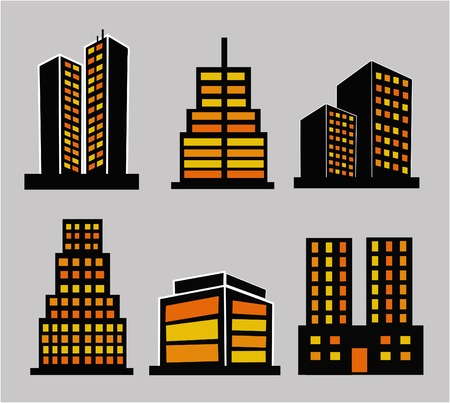 commercial building: Commercial building icon set