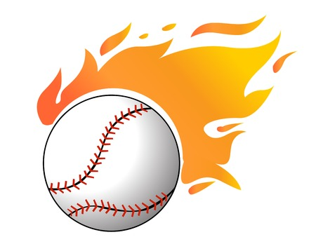 outfield: Baseball with flames vector