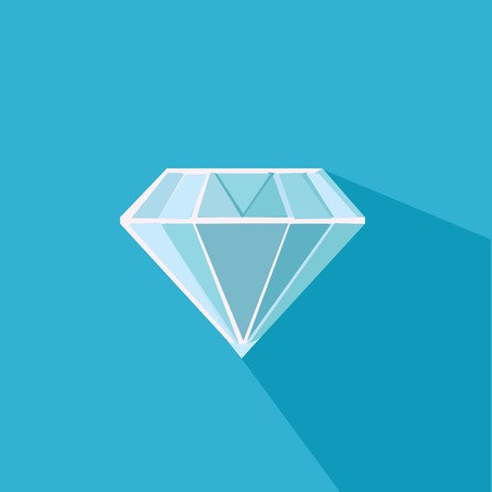 topaz: Diamond. Flat vector design with long shadow Illustration
