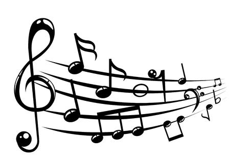 clave de fa: Notas musicales personal de fondo con líneas. Ilustración del vector.
