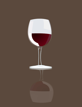 red wine pouring: Wineglass with red wine vector Illustration