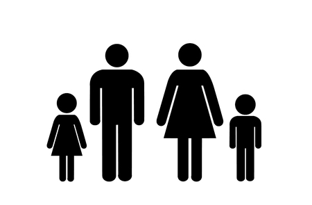 family icon over white background. vector illustration