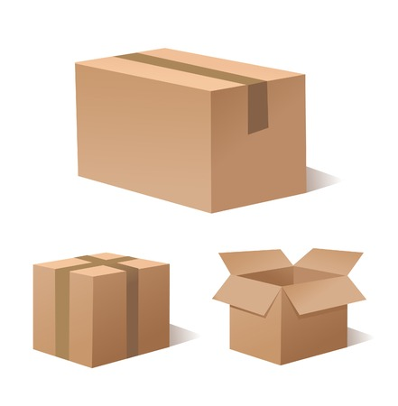 cardboard: Collection recycle brown box packaging Illustration