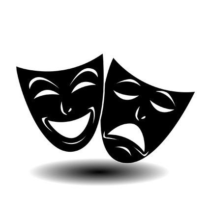 comedy disguise: Theater icon with happy and sad masks. VECTOR illustration.