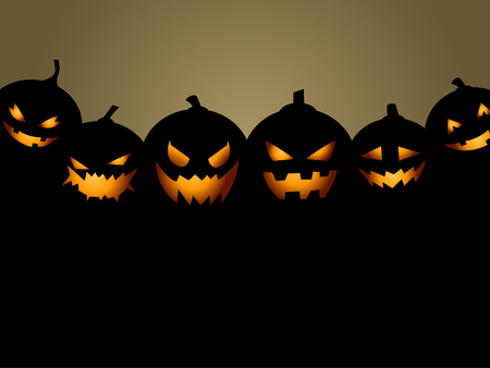 pumpkin face: Halloween Party Background with Pumpkins