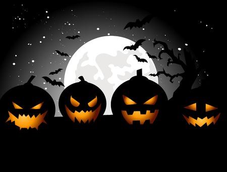 calabazas de halloween: Fondo del partido de Halloween con calabazas Vectores