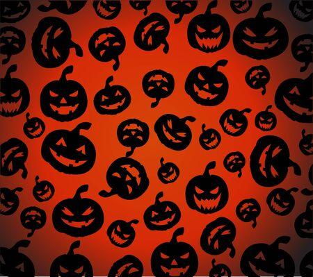 carvings: Seamless Halloween pumpkins background