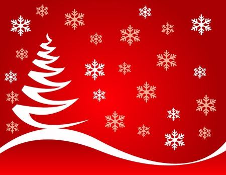 abstract tree: Abstract christmas tree vector illustration with colored background and snowflakes