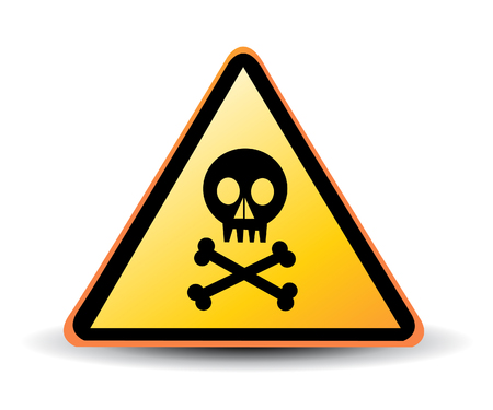 peligro: vector de señal de peligro con el símbolo de una calavera
