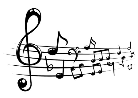 listening to music: Musical notes staff background with lines. Vector illustration.