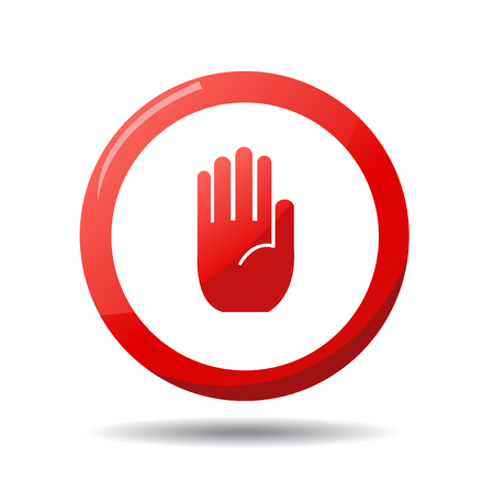 restrictive: No entry hand sign on white background