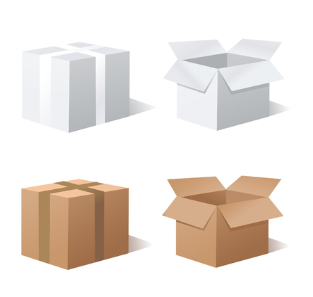 packer: Collection recycle brown box packaging Illustration