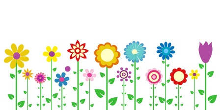 flowers cartoon: colorful spring flowers vector illustration