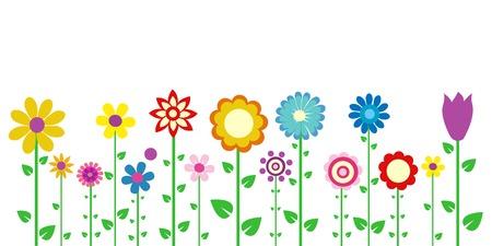 flor caricatura: coloridas flores de la primavera de ilustración vectorial Vectores