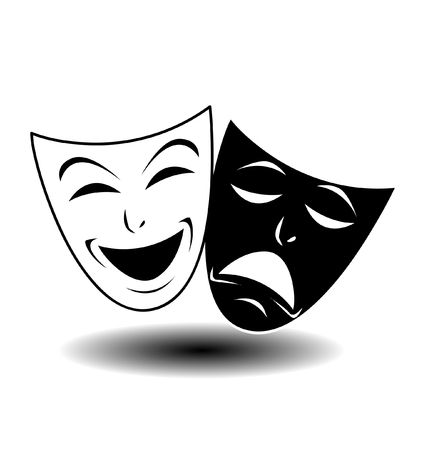 Theater icon with happy and sad masks. VECTOR illustration.