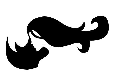 womanish: silhouette of a girl in profile with long hair