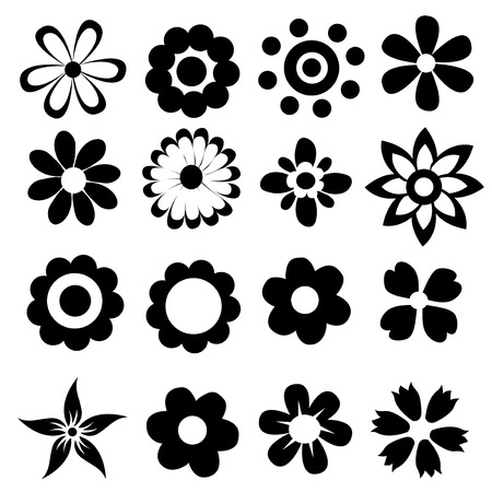 silhouetten van eenvoudige vector bloemen
