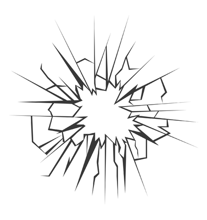 broken down: Crushed glass hand drawn, vector illustration