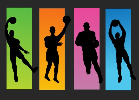 dunking: Set of basketball players silhouette Illustration