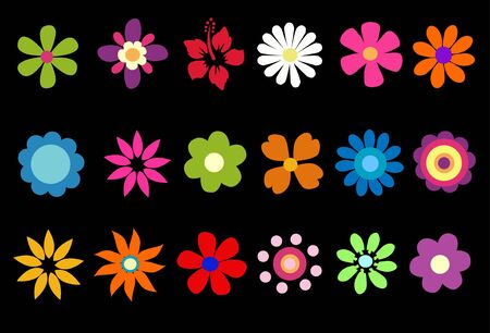 pink and black: colorful spring flowers vector illustration
