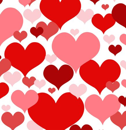 funky: Vector illustration with red love hearts