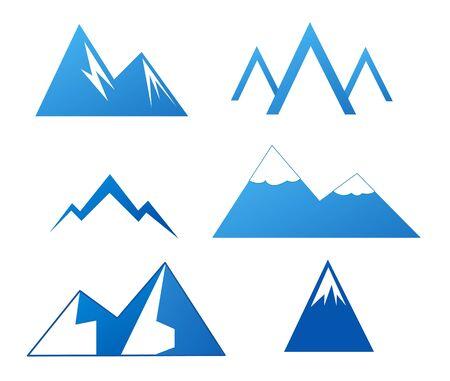 top mountain: Collection of Mountains on white backgroun