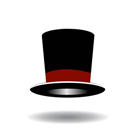 stovepipe hat: Black Top Hat illustration isolated on white background