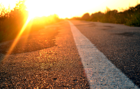 road ahead: Road ahead and the sunset