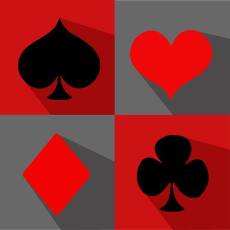 card suit: flat card suit icon set Illustration