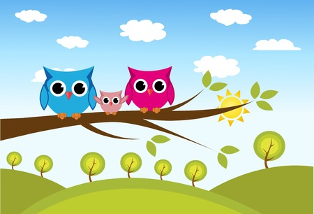 mother and baby son: cute owls couple with baby owl sitting on a branch