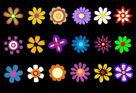 colorful spring flowers illustration 向量圖像