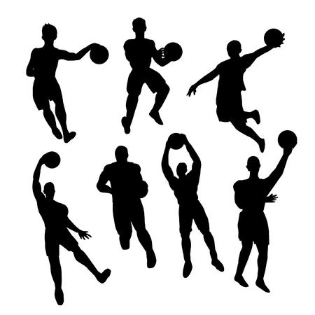 silueta masculina: Conjunto de jugadores de baloncesto silueta Vectores