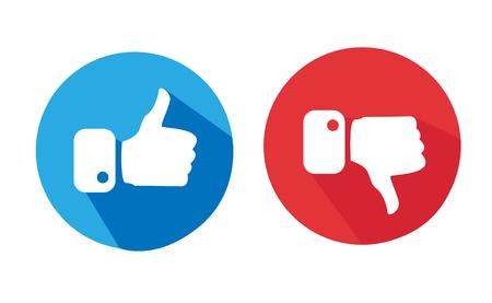 Moderne Duimen omhoog en Duimen Icons neer Vector Illustratie