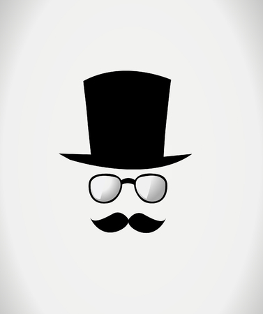 burly: Hat, glasses and mustache. Vector illustration