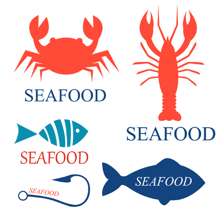 crucian: Set of seafood icon templates