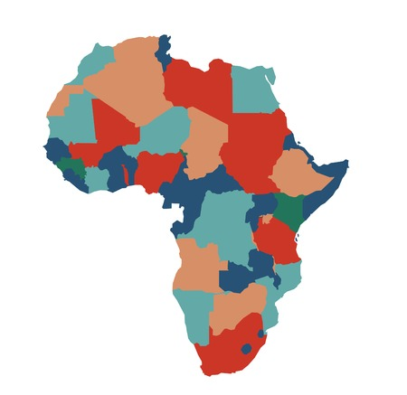 social history: Africa map vector illustration art on white background