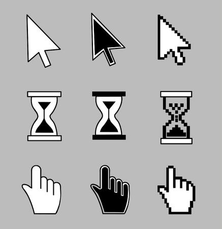 help section: Cursor set - mouse hand arrow hourglass. Vector illustration