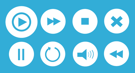 player controls: media player buttons set vector illustration