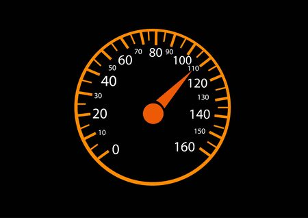 mph: Car speedometers on black background