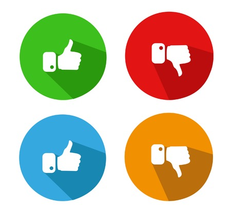 Modern Thumbs Up and Thumbs Down Icons Illustration
