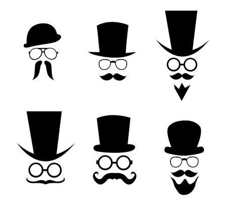 goatee: Hat, glasses and mustache. illustration