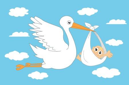 animalitos tiernos: La cigüeña y el vector de bebé Ilustración